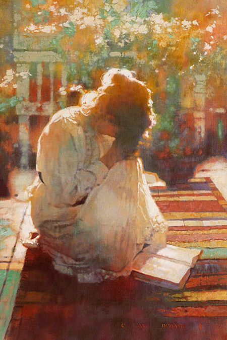 Woman praying at edge of garden. Michael Dudash called He Shall Hear My Voice. Lovely Prophetic Art.