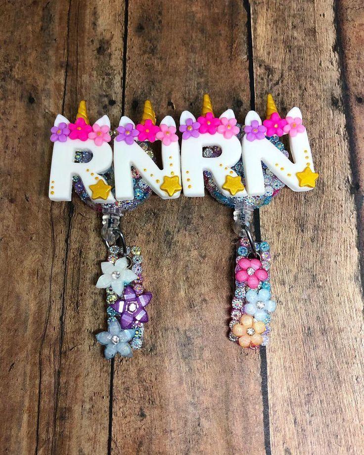 Unicorn Letters , Retractable Nursing Badge Reel , RN Cute