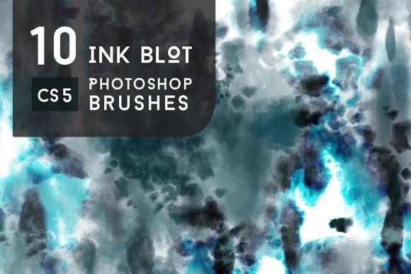 10 Tie-Dye Ink Blot Brushes by PrismLightStudios on @creativemarket