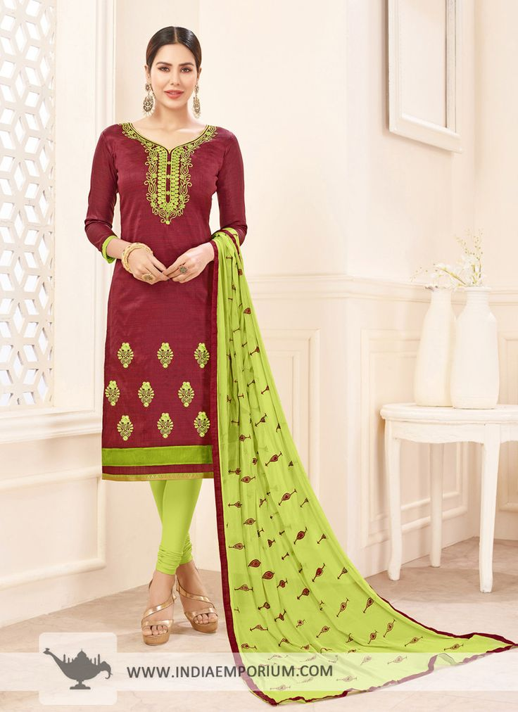 Dashing Slub Cotton Embroidered Maroon & Light Green Churidar Suit