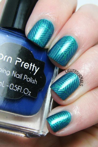 Teal geometric nail art feat. TNS Drinks & Cocktails and stamping plate BPX-L020 @bornprettystore