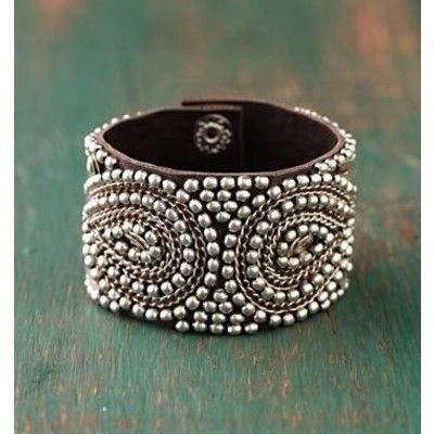 beaded leather cuff: Silver Beads, Cuffs Bracelets, Style, Leather Cuffs, Jewelry, Free People, Beads Cuffs, Silver Cuffs, Leather Bracelets