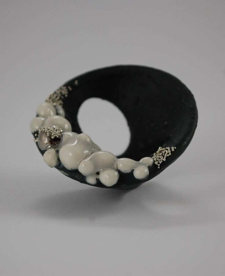 RING PORCELAIN, SILVER, STEEL, HANDMADE UNIQUE