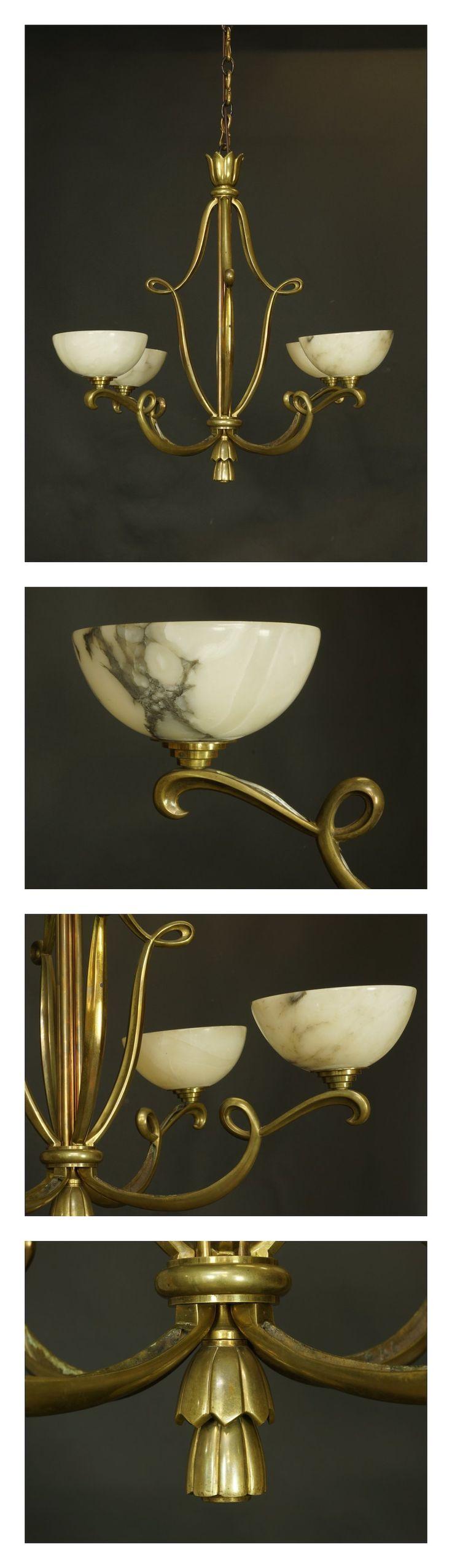 Rene Drouet Bronze and Alabaster Ceiling Light, c.1920.  #1920s #lighting