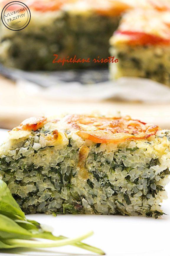 Zapiekane risotto ze szpinakiem i suszonymi pomidorami  Ładnie wygląda prawda?  #risotto http://ulubioneprzepisy.com/2014/07/18/zapiekane-risotto/