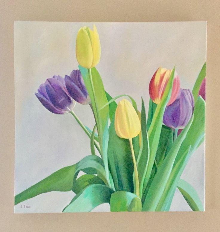 Tulips Emerboweart.  Buy it now on my etsy > https://www.etsy.com/ie/people/emerbowe?ref=hdr_user_menu #Painting #oiloncanvas #Art #oilpainting #oil #canvas #paint #irish #irishartist #EmerBowe #Tulips #Tulip #flowers #floral #flower