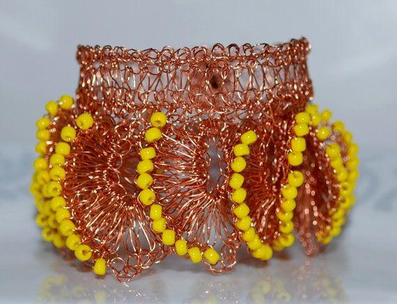 Beaded Petal Wire Crochet Bracelet Crocheted Wire by MyasCreations, $69.99