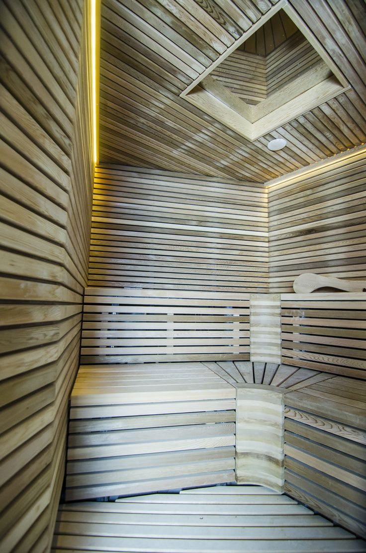 "Sauna walls and benches were made from the highest quality cedar wood. Lighting - warm white LED strip. Polished stainless steel sheet mounted on the ceiling, which is equipped with lighting system ""starry sky""."