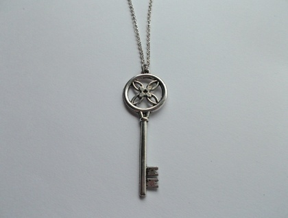 Silver Key on Silver Belcher Chain