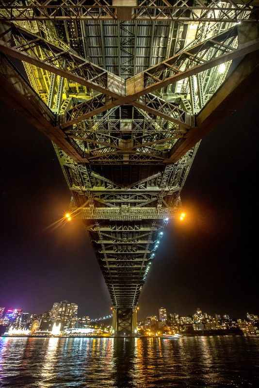 Its always an option when I get near the Sydney Habour  bridge at night and harder from the south end due to the high fence railing. I'd lent my tripod so with the Canon 5D3 the settings were 10,000 ISO F6.3 and half a second resting on the metal of the rail