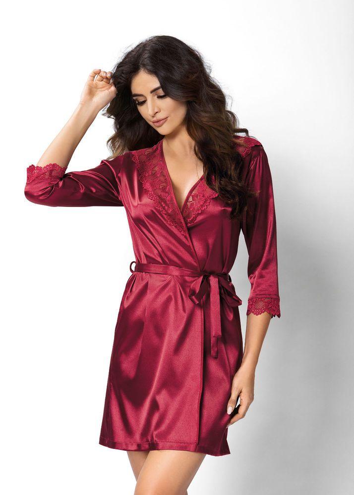 13f022cac5671 Peignoir rouge bordeaux satin déshabillé lingerie nuit femme sexy VENUS  DONNA #Robesdechambrepeignoirs