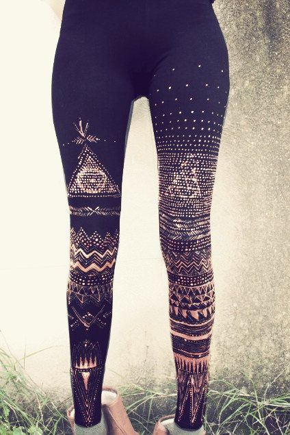 DOT WORK TRIBAL Leggins handpainted