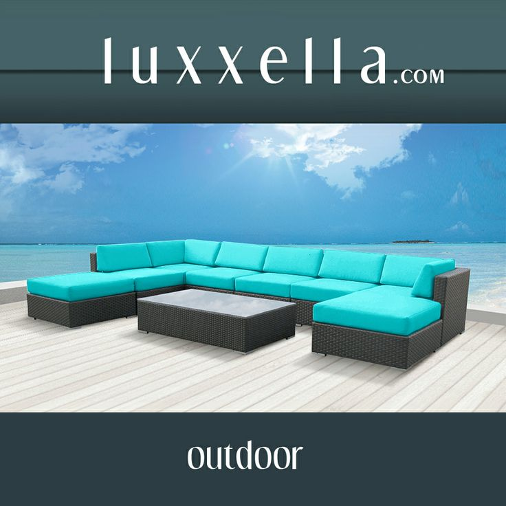 Luxxella Outdoor Patio Wicker MALLINA Sofa Sectional Furniture 9pc All Weather Couch Set TURQUOISE #patiofurniture #wickerfurniture #Outdoorwicker