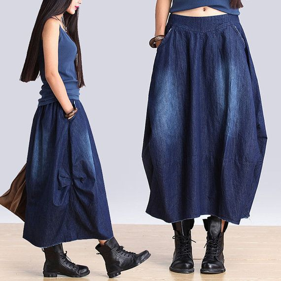 Elastic waist denim blue irregular skirts / plain by dreamyil