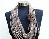 Stile africano colore naturale womens sciarpa collana-inverno infinito ciclo sciarpe-Chunky sciarpa-donna regalo riciclato gioielli tessuto-etnico