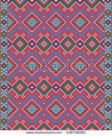 Traditional Romanian folk art knitted embroidery pattern.