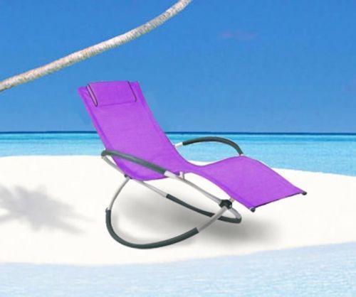 New sun lounger moon rocker vibrant purple outdoor gravity folding ga