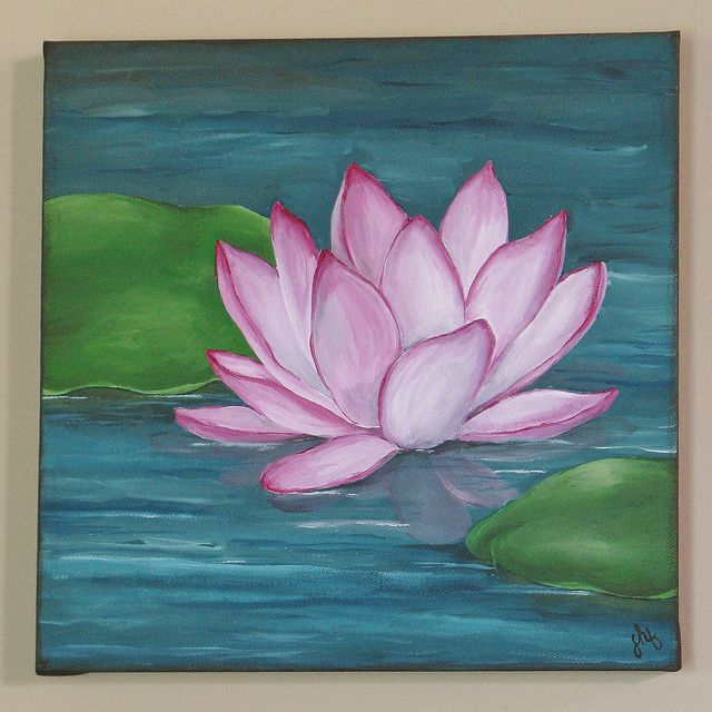 Best 25 lotus flower paintings ideas on pinterest lotus for Floral acrylic paintings