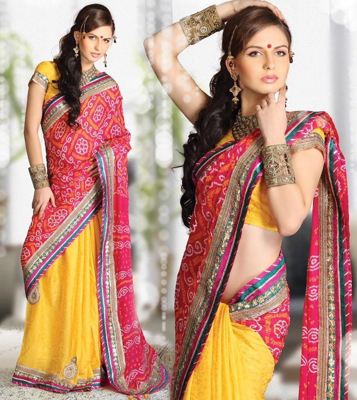 Occasional Bandhani Pallu Saree - maybe not yellow but like the concept for bridesmaids dresses