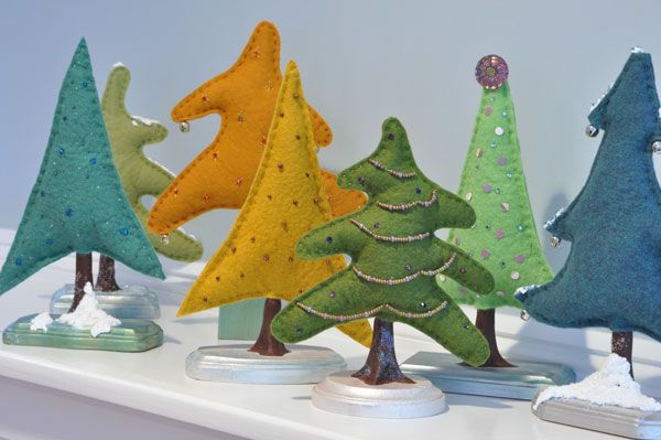 felt christmas trees - so cute!