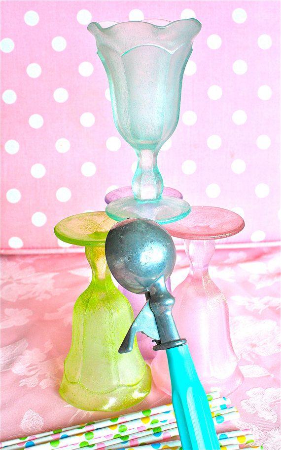 ice cream Sundae glassesfrosted glass by marionsvintagebakery, $39.99