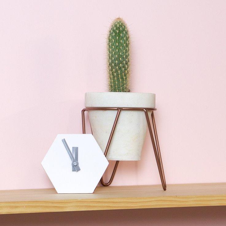 Amindy  - GEO Hexagon Desk Clock - White - $49 - Shop online at www.amindy.com.au