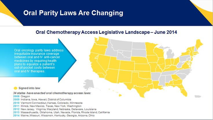 Oral Parity Laws Are Changing. #Oral #oncology #parity laws address inequitable insurance coverage between oral and IV anti-cancer medicines by requiring health plans to equalize a patient's  out-of-pocket costs between oral and IV therapies.