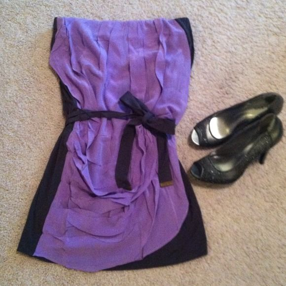 Anthropologie The Addison Story strapless dress! Gorgeous Addison Story strapless lilac dress. Strap ties around waist to flatter any body type. Fun and classy party dress that is comfortable and beautiful! Anthropologie Dresses Strapless