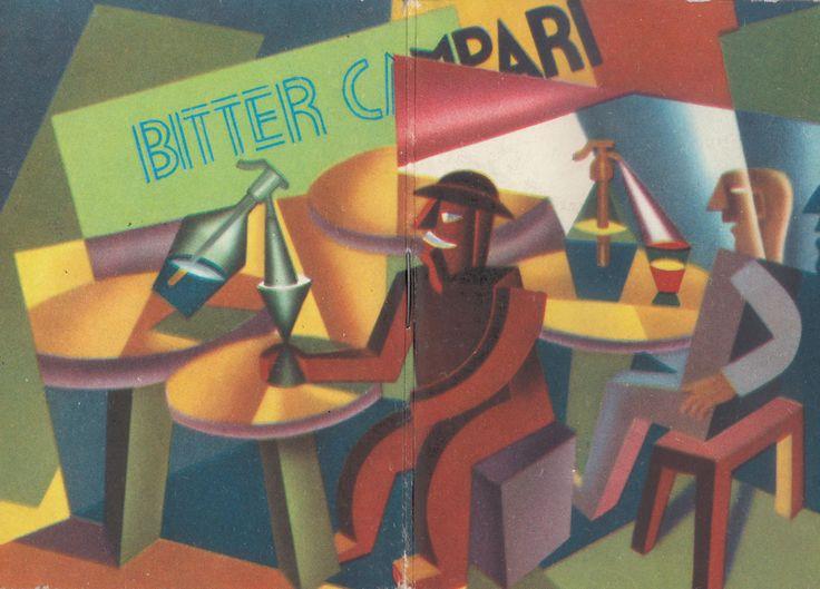 Bitter Campari, 1963; su disegno di Fortunato Depero; pubblicità bitter Campari, Milano; calendarietto-almanacco