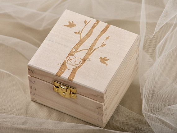 Wood Wedding Ring Bearer Box, Rustic Wooden Ring Box, Engraved  Bride and groom names, Model no: 10/drd/bx