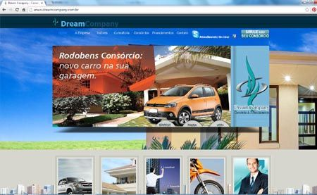 Site da Dream Company - Consórcios para Imóveis, carros e caminhões