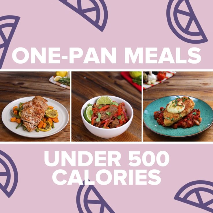 One-Pan Meals Under 500 Calories // #onepan #dinner #chicken #healthy #cleaneating #recipes #vegetables #breakfast #lunch #dinner