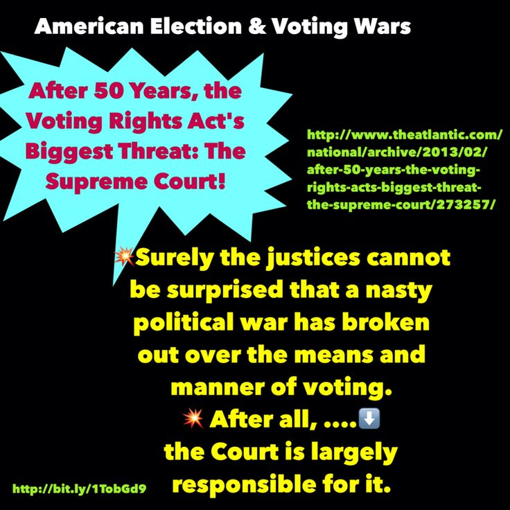 "#humanrights #DemDebate #GOPdebate #inequality  After 50 Years, the Voting Rights Act's Biggest Threat: The Supreme Court  ""Surely the justices cannot be surprised that....⬇️  a nasty political war has broken out over the means and manner of voting.  After all, the Court is largely responsible for it.  Voting Wars—for Their Own Good http://bit.ly/1TobGd9"
