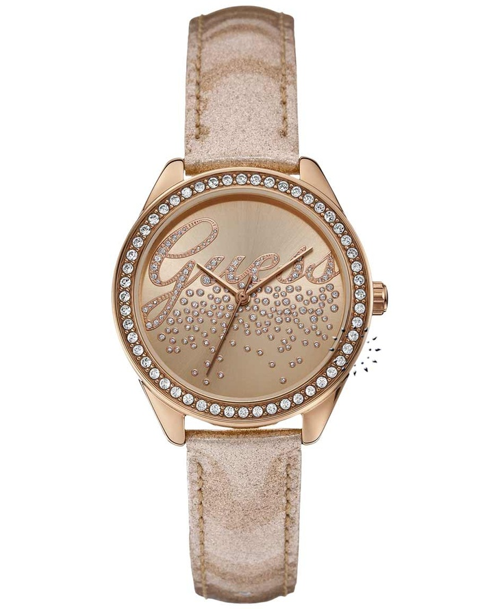 GUESS Crystal Rose Gold Leather Strap  Μοντέλο: W0161L1  Τιμή: 106€  http://www.oroloi.gr/product_info.php?products_id=31735