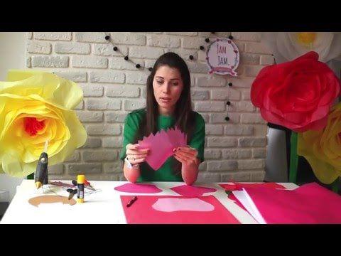 Большие бумажные цветы своими руками - YouTube