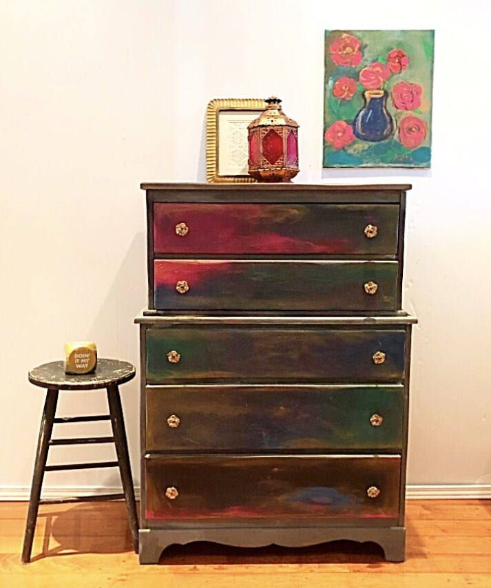 Excited To Share The Latest Addition My Etsy Refurbished Dresser Boho Tall Boy Blue Upcycled Furniture Highboy Solid Wood Buffet 5