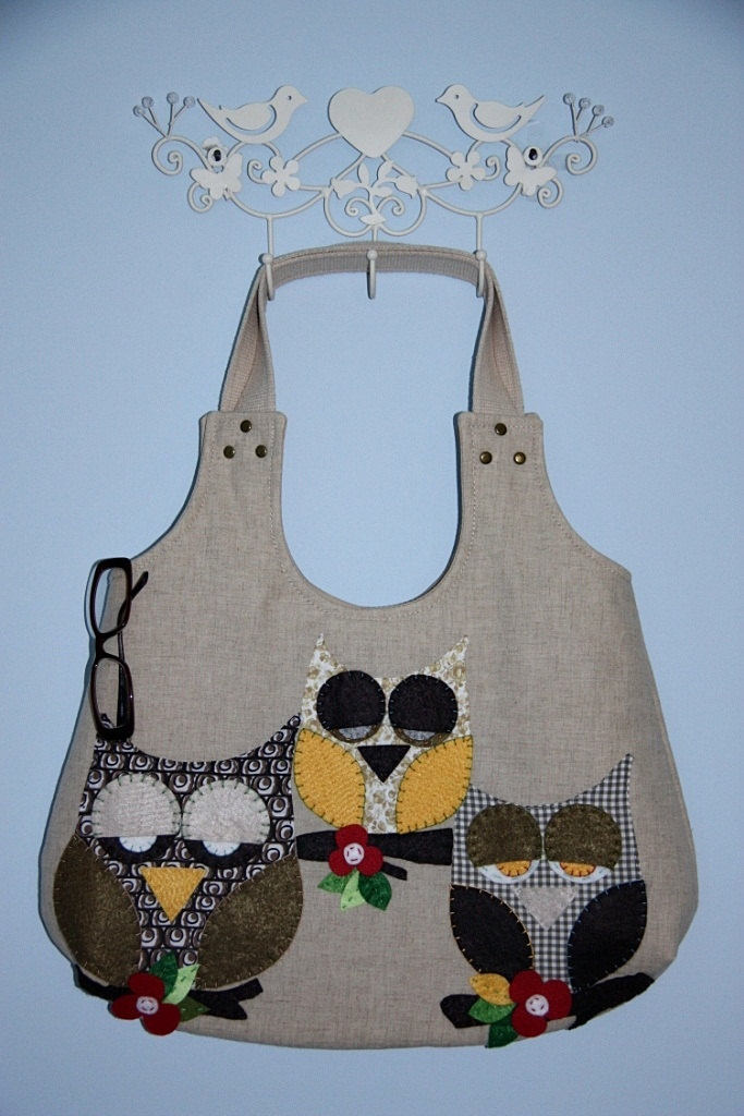 owl purse/owl family applique large hobo bag/ hobo bag / shoulder bag/multicolor owls applique/ready to ship. $70.00, via Etsy.