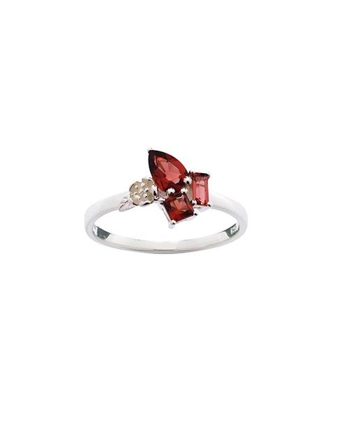Rock Garden Mini Ring in Silver and Garnet - Jewellery - Accessories