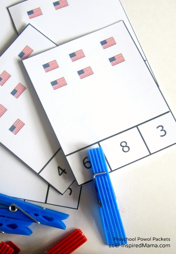 Printable Patriotic Flag Count & Clip Game from Preschool Powol Packets at B-InspiredMama.com