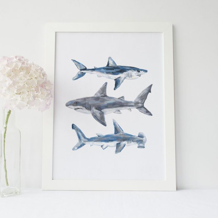 Great White Mako Hammerhead Shark Wall Art Print Or Canvas Shark Decor Shark Painting Shark Art
