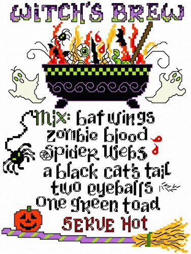 Witchs Brew - cross stitch pattern designed by Ursula Michael. Category: Halloween.