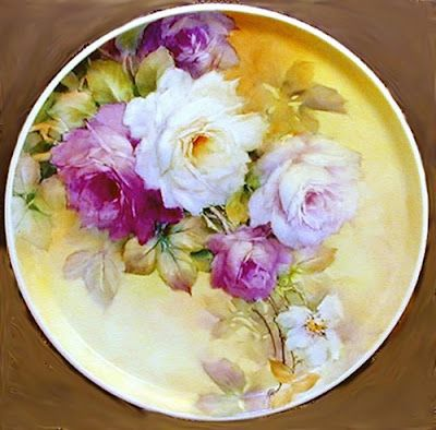 Art by Celeste McCall This is a rose plate which I painted years ago.  I think I gave this away or sold it though.   A bit stiff looking.....needs a good line of opposition to relax the too straight of line caused by the stems.