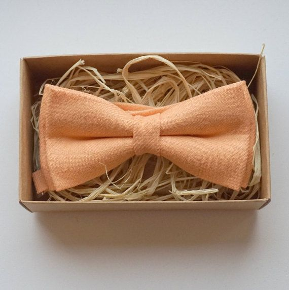 Peach linen  bow tie / Wedding bow tie / Easter by ArtOfLithuania