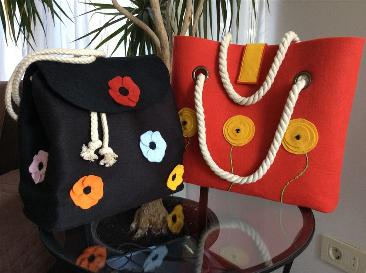 Hand made felt back bag and shopper