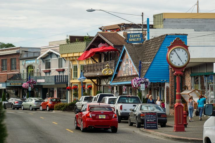 The cute Norwegian style town of Poulsbo, Washington, USA.