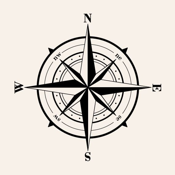 Old Fashioned Compass Wall Decal Art Love List