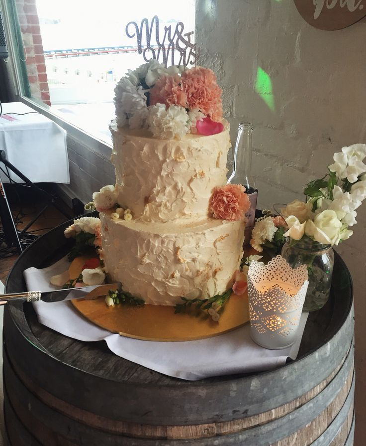 Rustic off-white and gold Wedding cake for my brothers Wedding.