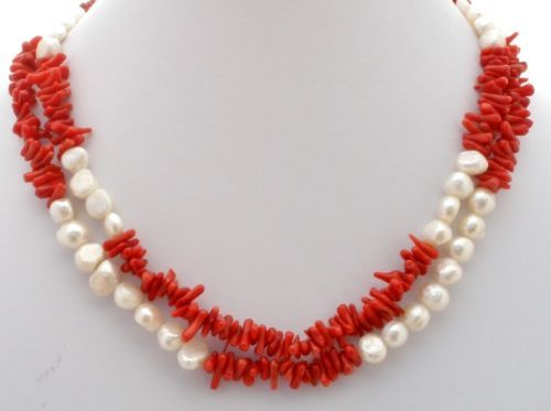 Vintage Sardinian Coral Pearl Necklace Sterling Silver Red