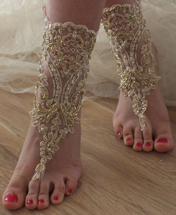 Champagne gold lace sandals embroidered beads Beach wedding barefoot sandals, beach shoes FREE SHIP