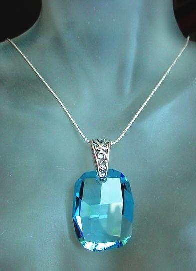 Blue Swarovski's Crystal Pendant c/w Sterling Silver by camexinc